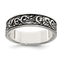 Sterling Silver Antiqued Filigree Band