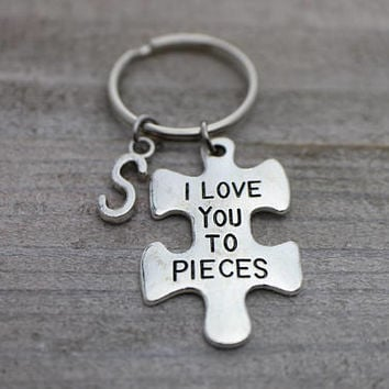 Custom initial I Love You To Pieces puzzle silver key ring