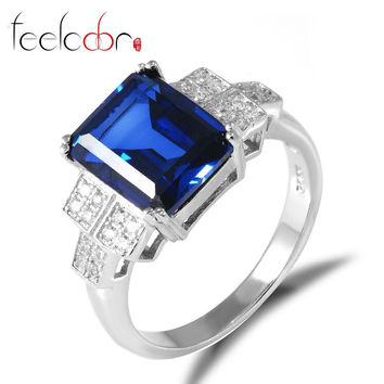 Blue 8 Feelcolor Promotion Luxury 4.4ct High Quality Sapphire Ring 925 Solid Sterling Silver Fashion Engagement Wedding Set For Women
