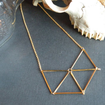 Geometric Gold Necklace // Chevron Triangle // Sacred Geometry // Himmeli inspired Brass Bar // Geometric jewelry