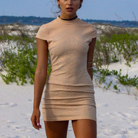 Dancing With Diamonds Taupe Short Sleeve Body Con Dress