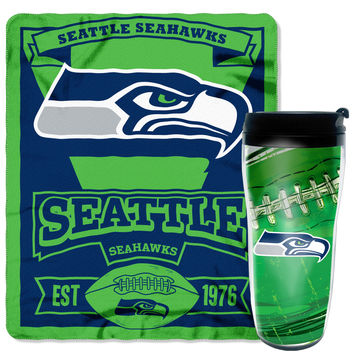 "Seahawks National Football League, 16oz Travel Mug and 50""""x 60"""" Fleece Throw Gift Set"