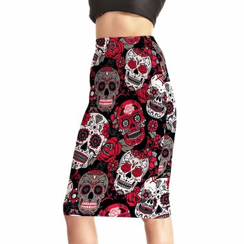 Rose Skull Evil Funny Women's 3D Skirts High Waist