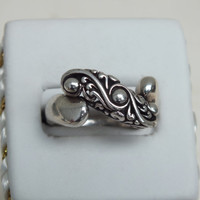 Silver Swirl and Ball Ring, Size 7 1/2, Silver 925, Sharp looking Ring