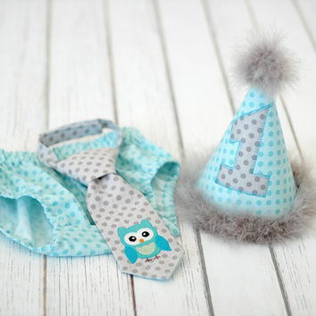 Boys Birthday Party Hat, Diaper Cover, Tie - Smash Cake, Photo Prop - Look Whoos One Owl, What a Hoot - Gray Aqua Blue