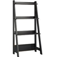 Four-Shelves Contemporary Ladder Bookcase Home Office Furniture Classic Black