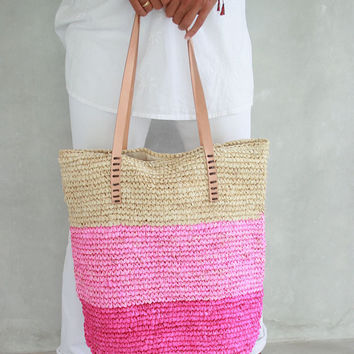 Pink Beach Bag, Straw Bag, Straw Beach Bag, Summer Straw Bag, Large Straw Bag