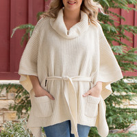 No Secrets Cowl Neck Poncho With Waist Belt ~ Ivory ~ Sizes 4-10