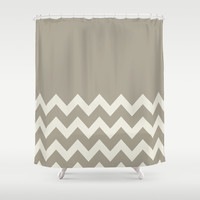 Chevron Colorblock Alabaster Blue Gray Shower Curtain by Beautiful Homes