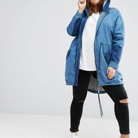 ASOS CURVE Parka in Washed Denim at asos.com