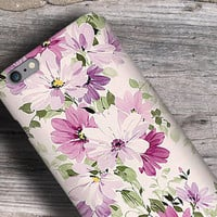 Boho floral painting iphone 6 case, Garden Flowers Galaxy tough case, Bohemian iPhone 5 case, pink purple white pastel colors