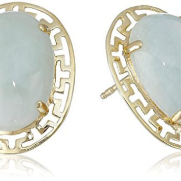 18k Yellow Gold Over Sterling Silver Green Jade Greek Key Post Stud Earrings