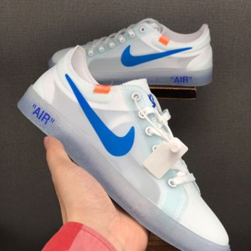 HCXX 19June 1222 Off White Nike Blazer MID Breathable Fashion Grenadine Casual Skateboard Shoes white blue