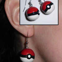 Handmade Pokemon-Inspired Pokeball Earrings (Ready to Ship)