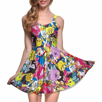 Plus Size Sexy dress Green Cartoon 3d Print Cute Women Summer Skater Dress Sleeveless Hot Drop Shipping