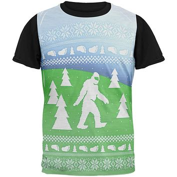 Ugly Christmas Sweater Bigfoot Sasquatch Yeti All Over Mens Black Back T Shirt
