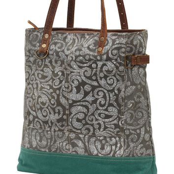 Myra Bag Abstract Up-cycled Canvas Tote S-0739