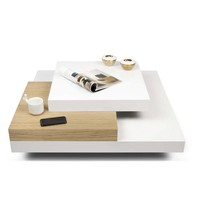 "Slate 35 X 35"" Coffee Table Pure White / Oak"