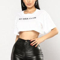 No Bra Club Tee - White