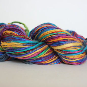 Ready to ship / Rainbow Handspun Yarn Gently Thick and Thin Worsted YARN 50/50 Super wash Merino / Tussah Silk Top 4.30oz