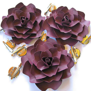 Dark Violet Paper Flower Brooch, Paper Wedding Hair Accessory, Paper Corsage, Boutonniere, Paper Flower Hair Clip, Paper Wedding Barrette