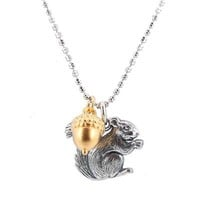 """Lifelike Three Dimensional Squirrel and Acorn Pendants in Sterling Silver and Gold Vermeil on 18"""" Rhodium and Sterling Diamond Cut Bead Chain, #7743"""