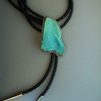 Vintage NATIVE American Sterling Navajo BOLO Tie Turquoise Bennett Clip C31 LARGE Organic Shape c.1960's