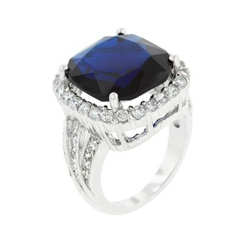 Deep Blue Sapphire Engagement Ring Size 8