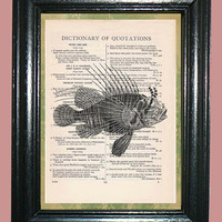 Deep Ocean Fish - Vintage Dictionary Page Book Art Print Upcycled Book Art Print on Dictionary Page, Fish Print