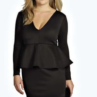 Plus Sara Plunge Neck Peplum Dress