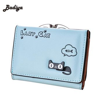 Female Cartoon Girls Wallet Printing Cute Cat Women Wallet Small Fashion Purse Korean Style Cartoon Card Holder Coin Purse