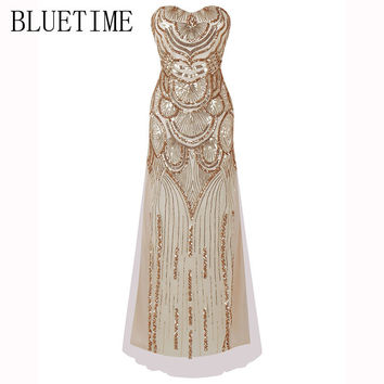 BLUETIME 1920s Great Gatsby Vintage Dress Women Summer Sequin Long Maxi Party Tunic Elegant Retro Sundress Robe Femme 2H0004