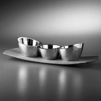 Nambe 6271 Trio Condiment Set with Wood Base
