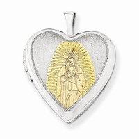 Sterling Silver Gold-Plated Our Lady of Guadalupe 20mm Heart Locket