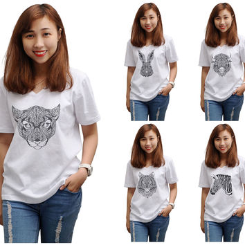 Women Animal Pencil Drawings Printed V-Neck Short Sleeve T-shirt WTS_16