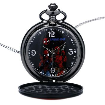 Deadpool Altman Cover Pocket Watch Superman literally Dial Necklace Quartz With Necklace Gift for Men Woman