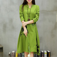Autumn New long section dress 2015 Women Dresses Ethnic Style Vestidos Long Sleeve Retro Print Linen Loose Casual Vestido 31778