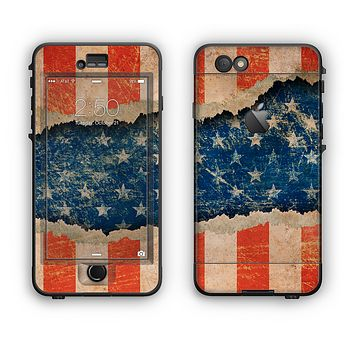 The Scratched Surface Peeled American Flag Apple iPhone 6 Plus LifeProof Nuud Case Skin Set