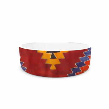 "S Seema Z ""TAPESTRY ETHNIC"" Red Pattern Pet Bowl"