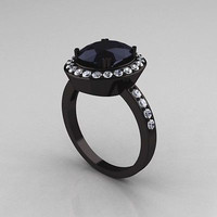 AMAZING 7.12CT BLACK ROUND CUT 925 STERLING SILVER ENGAGEMENT AND WEDDING RING