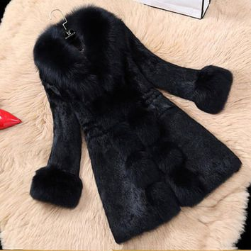 2017 Winter Thick Warm Women Faux Fur Coat with Fox Fur Collar Female Black Outerwear Faux Rabbit Fur Coat Waistcoat LJLS046