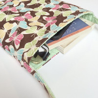 Butterflies and Polka Dots Reversible Flannel Tote in Brown and Mint with Long Strap, ready to ship.