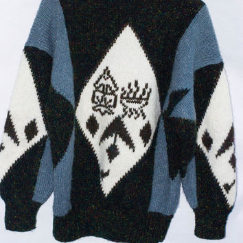 Vintage Metallic Yarn Hand Knit Sweater.