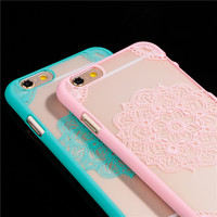 New Arrival Luxury Lotus Flower Pattern for Apple iphone 6 6S 6Plus 6s Plus Phone Cases 4.7 or 5.5 inch Cell Phone Back Cover