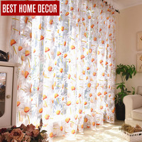 Best home decor drapes sheer window curtains for living room the bedroom kitchen modern tulle curtains sun floral fabric blinds