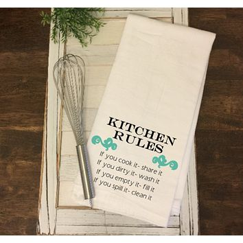 """Kitchen Rules"" Tea Towel"