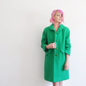 shamrock green 1960 coat . BRIGHT boucle jacket .small.medium