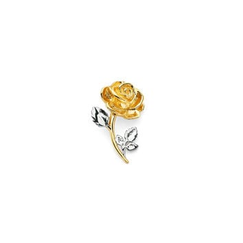 14K Two Tone Rose Slide Pendant, Rose Pendant, Rose Jewelry, Flower Jewelry, Floral Jewelry, Rose, Floral, Flower, Nature, Gold Pendant