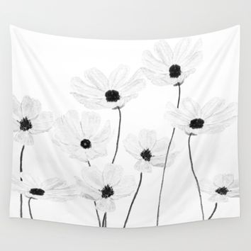 black and white cosmos  Wall Tapestry by Color and Color