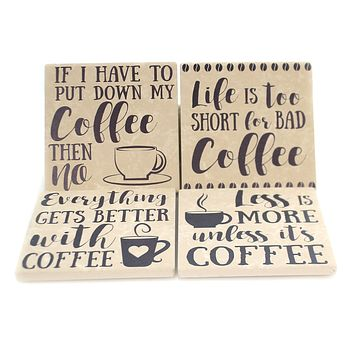 Tabletop COFFE HUMOR COASTERS Stone Cork Back Absorbent Ss73770
